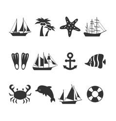 summer sea vacation icons set vector image
