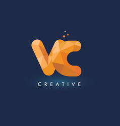 vc letter with origami triangles logo creative vector image