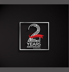 2 years anniversary logotype with square silver vector