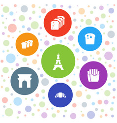7 french icons vector