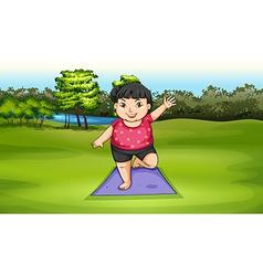 A fat girl exercising vector image