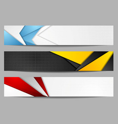 Abstract bright tech geometric banners set design vector