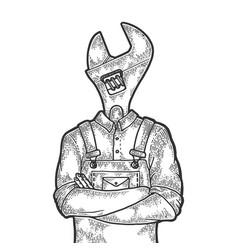 Adjustable wrench head worker sketch engraving vector
