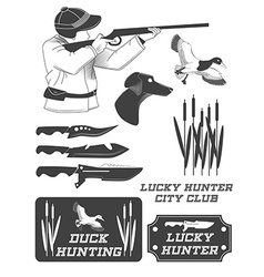 African hunter safari labels emblems and design vector