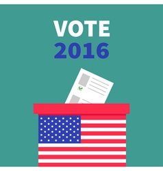 American flag Ballot Voting box with paper blank vector image