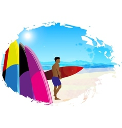 Artistic designed background with surfer vector image