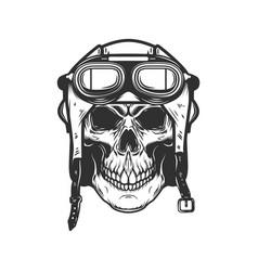 Aviator skull in aviators helmet design element vector
