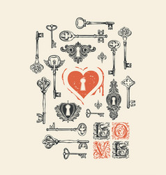 Banner on theme love with old keys vector