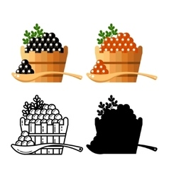 Black and red redcaviar in a wooden barrel vector