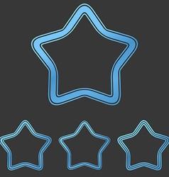 Blue line star logo design set vector