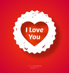 Bright Red Love Heart Banner vector