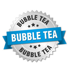 Bubble tea round isolated silver badge vector