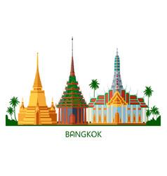 Buddhist wat temple in bangkok thailand vector
