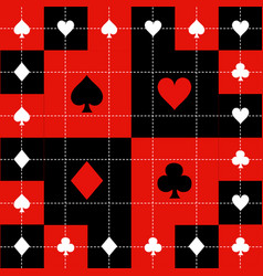 card suits red black white chess board background vector image