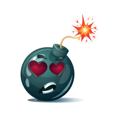 Cartoon bomb fuse wick spark tooth icon love vector