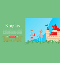 cartoon multiracial knights in full body armor vector image