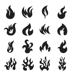 collection fire icons isolated vector image