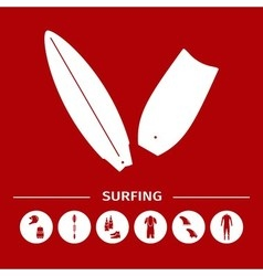 Collection of surfing goods icons vector