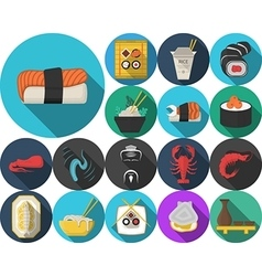Colored icons for japanese restaurant menu vector image