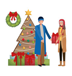 Couple with christmas tree and gifts avatar vector