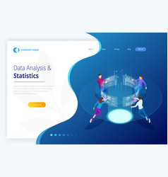 data analysis and statistics isometric business vector image