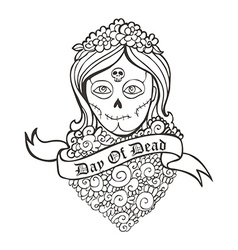 Day of dead skull girl with marigold vector image