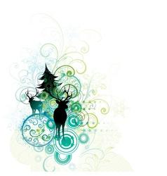 deer and tree vector image