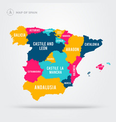 detailed map spain colorful regions with names vector image