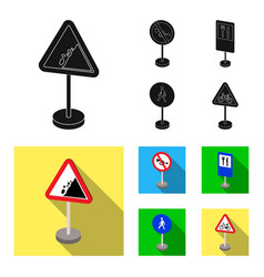 Different types of road signs black flat icons in vector