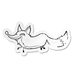 Distressed sticker of a cartoon sly fox vector