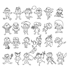 Doodle children on vacation vector