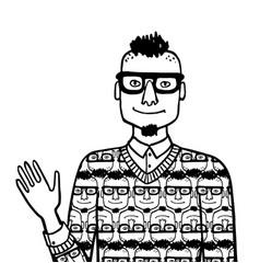 Doodle sketch egocentric hipster vector