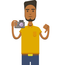 drawing of africo american man with camera vector image