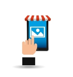 e-commerce concept hand holding smartphone image vector image
