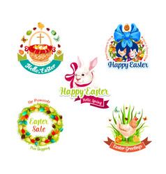 easter holiday label set for sale tag design vector image