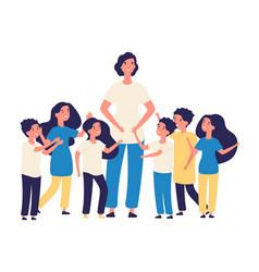 Educator and kids teacher happy children vector