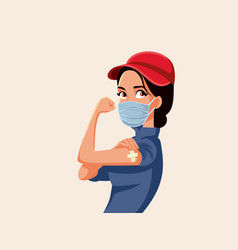 essential worker showing vaccinated arm vector image