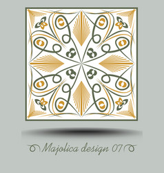 Faience ceramic tile in nostalgic ocher and olive vector