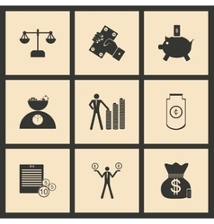 Flat in black and white concept business icons vector image