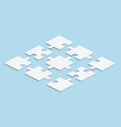 Flat puzzle in isometric design on blue background vector