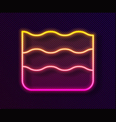Glowing neon line wave icon isolated on black vector
