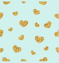 Gold heart seamless pattern golden chaotic vector