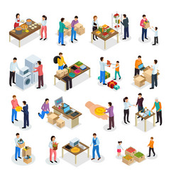 Goods donation isometric set vector