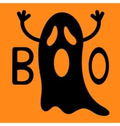 Happy halloween funny black flying ghost vector