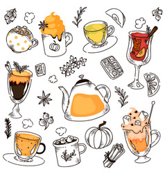hot drink variety hand drawing collage on white vector image