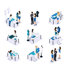 isometric tailor a set of mini concepts to create vector image