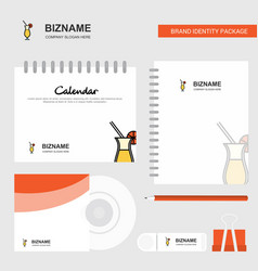 juice glass logo calendar template cd cover diary vector image
