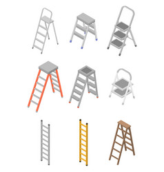Ladder icons set isometric style vector