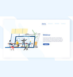landing page template with people sitting in front vector image