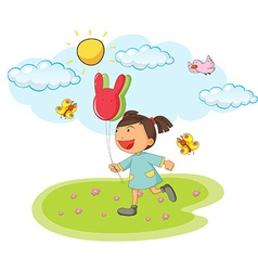 Little girl holding balloons in the park vector image